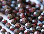 6mm Fire Polished Beads - Opaque Red Picasso - Faceted Rounds - Czech Glass Beads