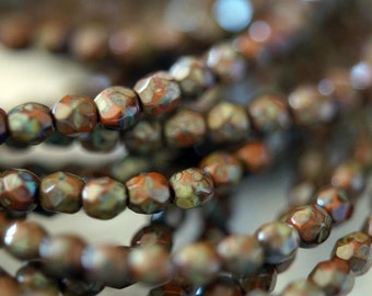 3mm Fire Polished Beads - Rust Picasso - Umber Beads - Burnt Orange - Faceted Rounds - Czech Glass Beads