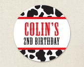 Vintage Farm Party / Cow Print - Custom Stickers - Sheet of 12 or 24