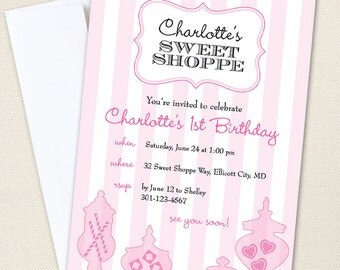 Sweet Shoppe Party Invitations - Professionally printed *or* DIY printable