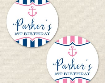 Pink Nautical Party - Custom Stickers - Sheet of 12 or 24