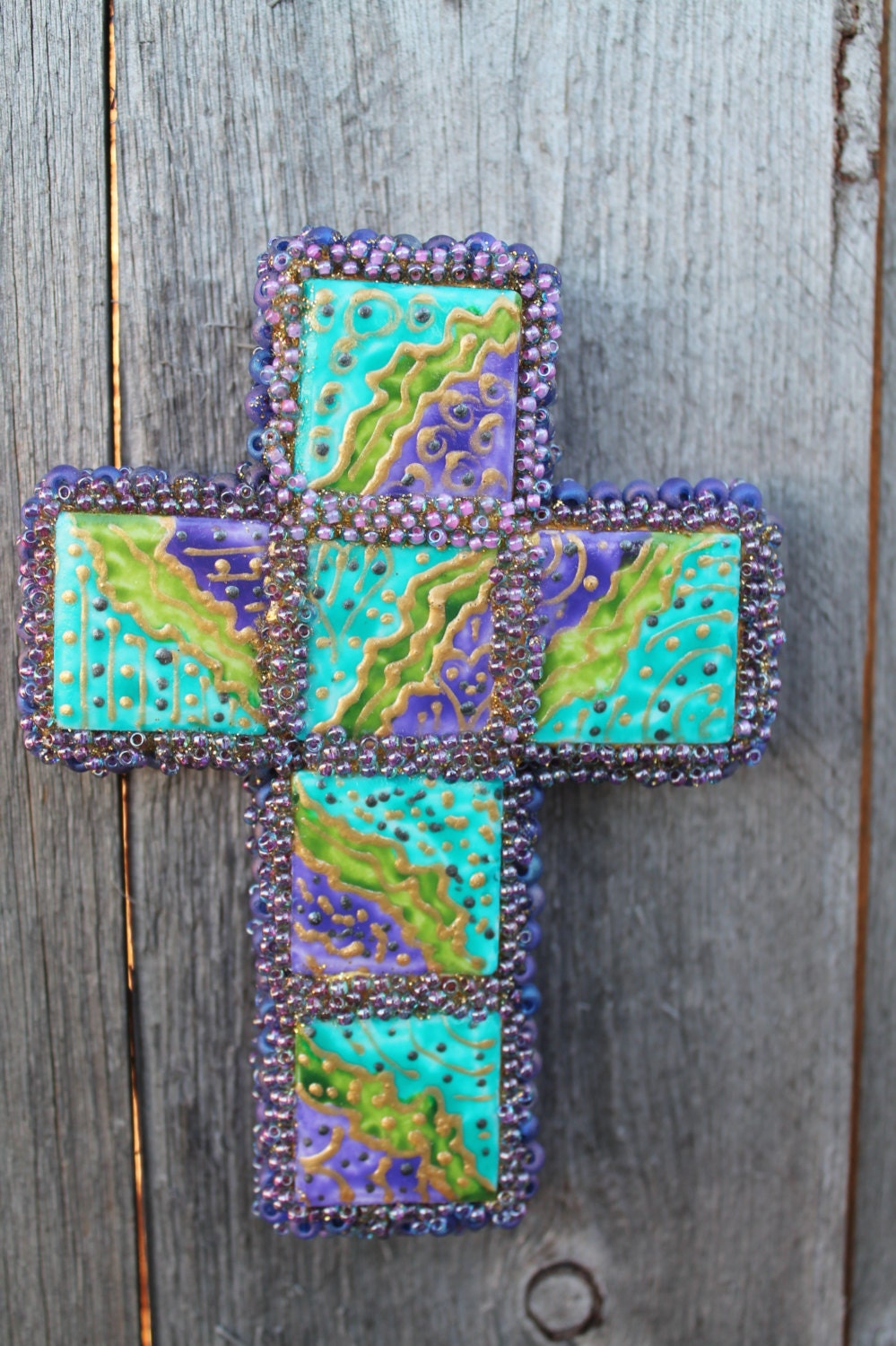 Handmade Christian Wall Decor Turquoise Purple Green And