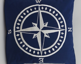 "Compass Pillow Cover, Embroidery, Nautical Pillow, Beach decor, Decorative Pillow, Accent Pillow, 18""x18"", Navy, Ready to ship"