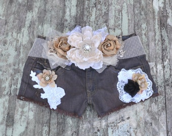 Sale, Cut off shorts, embellished, Boho shabby jean shorts, Chocolate brown, Romantic country clothes, gypsy cowgirl, true rebel clothing
