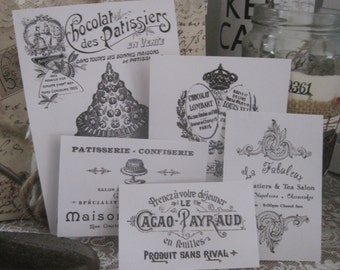 NEW french flea market set of  assorted vintage patisserie labels peel and stick