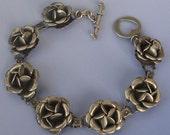 """SALE Vintage Sterling Silver  Rescued Rose Bracelet 7 1/2"""""""