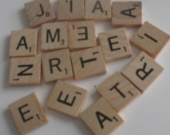 Wooden Scrabble Tiles from game 100 Pieces