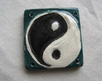 Yin Yang pendant component carved ceramic teal 4 holes