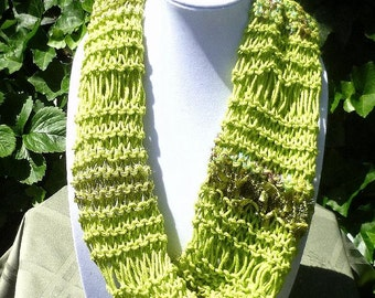 HandKnit Cowl scarf - Hand Knit infinity scarf- Hand Knit Chunky Scarf- Hand Knit Textured Scarf- Lime green scarf