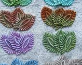 Lace Leaves Hand Dyed Venise Applique Embellishment Crazy Quilt Mixed Media Trim