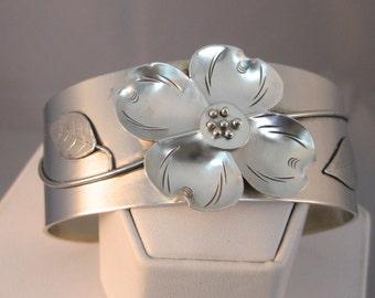 Sterling Silver Hand Formed Cuff Bracelet w/ Dogwood Flower