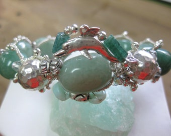 Sterling Silver Wire Wrapped and Coiled Green Jade Bracelet