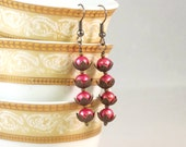 Pink Water Lilies - Hot Pink Pearls, Copper Bead Caps, Copper Beads, Holiday Earrings