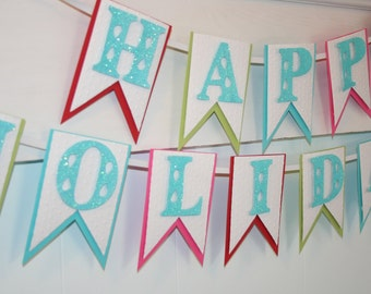 Happy Holidays Banner - Holiday Decor - Christmas Banner - Glitter Banner - Christmas Photo Prop