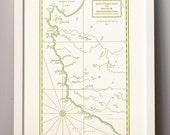 Monterey Bay to Big Sur, California Coast, Letterpress Printed Map (Olive green)