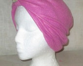 Wearable Art Turban or Chemo Hat Pretty Coral  Fleece embellished with Vintage Jewelry made of pearls and rhinestones