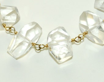 Crystal Quartz Bracelet - Wedding Jewelry - Natural Stone Bracelet - Chunky Bracelet - Clear Gemstone