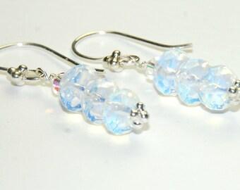 Opalite Clear Earrings - Color Changing Jewelry - Wedding Earrings - short dangle earrings