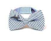 Bow Tie - Boy's - Shark - Navy Blue Seersucker - Embroidered Bowtie in Grey