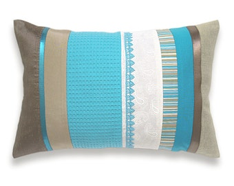 Turquoise Blue White Beige Lumbar Pillow Case 12 x 18 in IRMA DESIGN