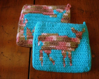 Whimsical Deer Silhouette Potholders - Doe Potholders - Crochet Potholders - Crocheted Potholders - Crochet Pot Holders - Hot Pads