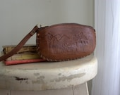 Leather Change Purse Mexican Coin Pouch Tooled Leather Southwestern