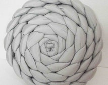 braided round cushion in light grey silk padded with fibre 18 inches diameter
