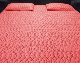 coral red modern  Cotton bedspread  queen  quilted  bedding coverlet waves embroidery pattern with 2 pillowsham