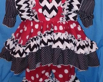Boutique OOAK Larger Sizes Chevron Little Diva Loves Mickey Mouse Dress Set