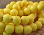 15 in strand 12 mm Round Wood Beads, Dark Yellow Color