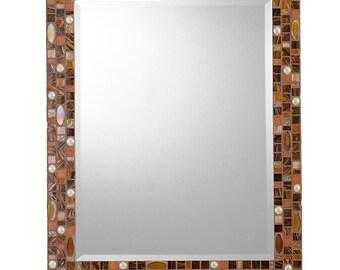 Mosaic Wall Mirror - Brown, Copper, Rust, Amber & Cream
