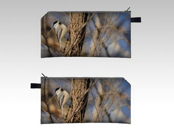 Chickadee and Tree Forest Pencil Case -  Zipper Pouch - Pencil Pouch - Cosmetics Pouch - Cosmetics Case - Pink blue