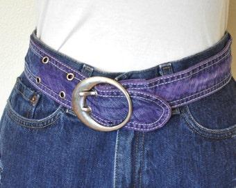 """Violet Dyed Denim BELT #1 - Violet Dyed Upcycled Cotton Denim O Buckle Belt - Boho Recycled Denim Jean Belt - 1.5 x 33"""""""