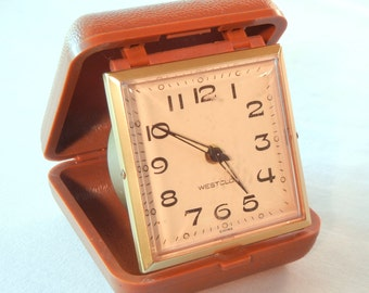 Westclox Travel Alarm Clock, Tan Square Face with Luminescent Glow Details, Snap Shut Case, Early 70s