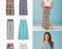 Knit Yoke Pants Pattern,  Long Skirt Pattern, Wide Leg Pants, Knit Yoke Shorts, Simplicity Sewing Pattern 1367