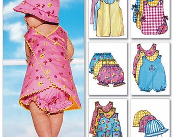 Infant Rompers Pattern, Toddlers' Sunsuits Pattern, Baby Jumper Pattern, Butterick Sewing Pattern 5625