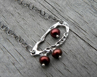 Sterling Silver Chain Pearl Necklace Bohemian Burgundy Cranberry Red  Modern Chic Gemstone Christmas