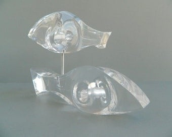 Vintage Modernist Lucite Acrylic Pair of Fish Sculpture Ritts Astrolite