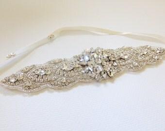 Vitoria  Wedding bridal headpiece crystal headband headpiece satin ribbon rhinestome headband