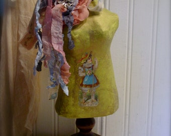 Altered Art Mannequin - Table Top Mannequin - French Country Farmhouse - Dress Form Home Decor