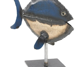 Blue and white Striped Fish Sculpture Metal Outdoor Art