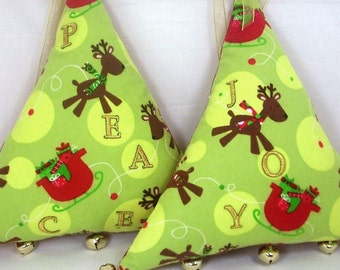 """Large Plush Triangle Tree Christmas Ornament, Door or Wall Decoration, Bright Green, Red, Gold with Jingle Bells, """"Peace or Joy"""""""