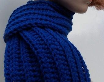 Royal Blue Scarf - Cobalt Blue Scarf - Womens Scarf - Mens Scarf - Crocheted Scarf