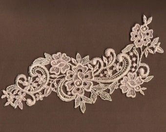 Hand Dyed Floral Venise Lace Applique Rose Scroll Vanilla Blush