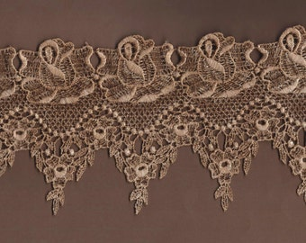 Hand Dyed Venise Lace Victoriana  Vintage Tea Stain