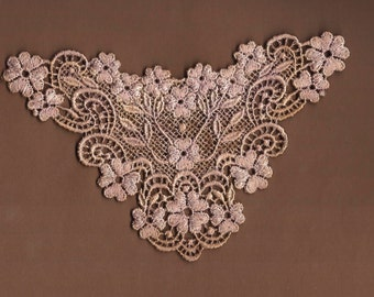 Hand Dyed Venise Lace Applique Graceful Floral   Aged Vintage Violet