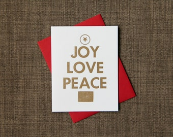 Gold Christmas Card Set, Letterpress Stationery, Pack of 12 Greeting Cards, Joy Love Peace