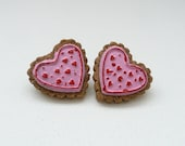 hs-CLEARANCE - Valentine Frosted Cookie Stud Earrings - Pink with Red Hearts
