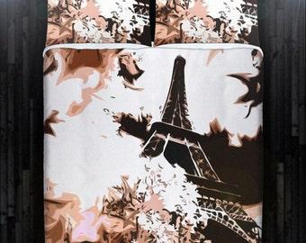 Beige Paris Bedding Eiffel Tower Duvet Cover Queen Size King Twin Blanket Sheet Full Double Comforter Toddler Daybed Kid Teen Dorm