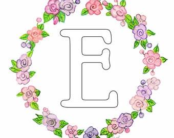 Monogram or Initial Circle of Roses Art Print 8 x 10  Floral Art